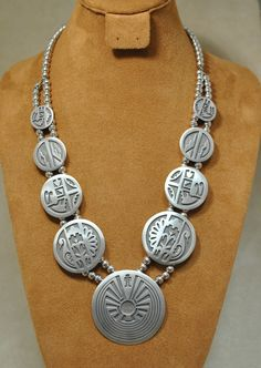 Navajo Man In The Maze Brushed Silver Necklace (squash style)