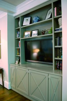 Katherine connell interior design built in center bookshelves with tv, tv bookcase, Bookshelves With Tv, Built In Bookcase, Billy Bookcases, Built In Media Center, Farmhouse Family Rooms, Interior Design And Build, Girl Bedroom Walls, Entertainment Center Decor, Hemnes