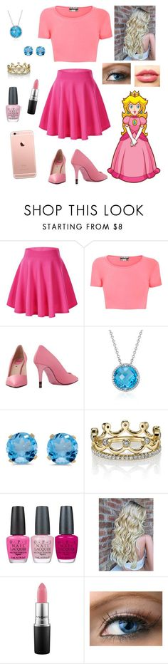 Modern Princess Peach by dropsofautumnrain ❤ liked on Polyvore featuring Pilot, Fendi, Blue Nile, BillyTheTree, Erica Courtney, OPI, MAC Cosmetics, LASplash and modern