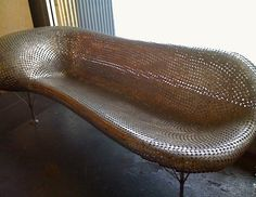 Johnny Swing's Nickel Couch. Made from 7000 welded coins. At Gallery of Functional Art in LA.