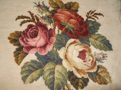 Beautiful vintage antique hand stitched completed tapestry Cabbage Roses square
