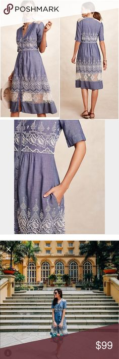 Anthropologie Embroidered Waters Shirtdress I love the details and embroidery on this gorgeous dress by Moulinette Soeurs. Perfect for transition to Fall! Lined, button front, beautiful see-through crochet hem. Lovely! Anthropologie Dresses