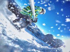 GoPro skiing, ski, snow, fast, sky