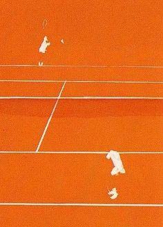 Lithographie - Gilles Aillaud - Tennis Orange Aesthetic, Aesthetic Art, Tennis Posters, Beach Tennis, Tennis Photos, Tennis World, Vintage Tennis, Julien, Heineken