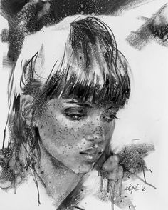 Portrait. Charcoal By Elpé Sketch Beautiful female portrait