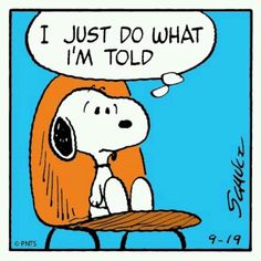 Snoopy just does what he's told | Pinned by Tara Blais Davison