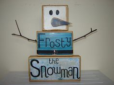 Frosty the Snowman wooden block primitive Christmas decoration for the holidays Christmas carol wooden snowman blue Christmas via Etsy