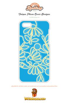 An Alternative Floral Design on Blue phone case available for all phone makes and models and can be personalised and purchased from www.mrnutcase.com