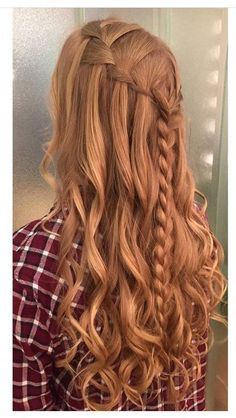Waterfall braid, loose curls, crown braid, braid, braided styles, long hairstyles, long hair, bridal hair, bridesmaid hair, big curls, wedding hair, prom hair, hair by @trinhpham15, www.curriedayspa.com