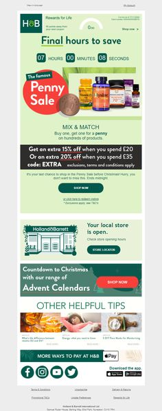 Countdown timer in email from Holland & Barrett #EmailMarketing #Email #Marketing #CountdownTimer #Retail