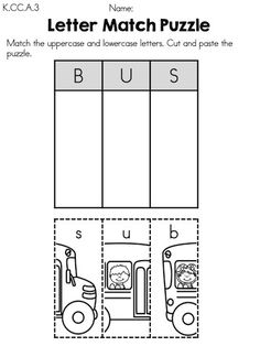 Letter Match Puzzle - Cut and paste bus puzzle matching uppercase and lowercase letters - Part of the Back to School Kindergarten Language Arts Worksheets packet