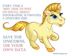"Every time a ""best time to post on social media"" infographic is created, a unicorn dies. Save the unicorns, use your own data."