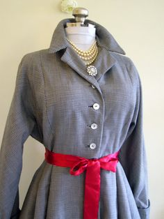 Couture 1950s Grace Kelly Style Navy Houndstooth by Poshporscha. , via Etsy.