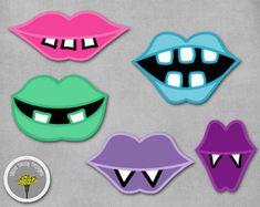 Monster Girly Mouths Lips Photo Props, Printable, Instant Download - PERSONAL USE ONLY