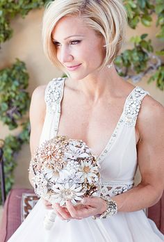 Brides.com: Wedding Hairstyles for Brides with Short Hair |  A Sleek Bobbed Hairstyle | Photo credit: Half Orange Photography