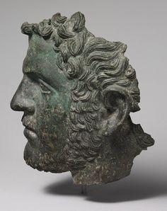 Fragmentary bronze portrait of the emperor Caracalla, ca. 212–217 A.D.; Mid-Imperial, Severan  Roman  Bronze