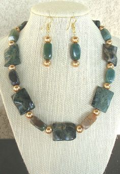 Dark Green Jasper Necklace with matching by LolasCustomJewelry, $55.00