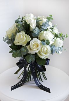Valentine's Day Bouquets 2013 : Part 5 – WildAbout | Flowerona WHITE ROSES WITH EUCALYPTUS