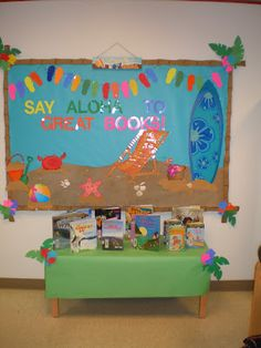 So happy preparing for our next book fair. Theme: Luau Just the best theme before summer vacation . This was the bulletin board I.