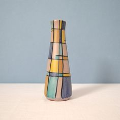 Vintage Hand Painted Mid Century Modern Ceramic Vase