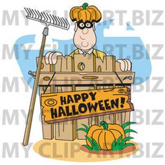 Happy Halloween Clip Art http://www.myclipart.biz/illustration/15592/man_wearing_a_pumpkin_hat_and_peeking_out_from_behind_a_wooden_fence_with_a_rake_leaning_against_it_a_pumpkin_in_the_foreground_and_a_sign_reading_happy_halloween