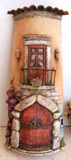 319c39ad72705eb1ffff8834ffff8709 - copia (245x550, 28Kb) Clay Fairy House, Gnome House, Fairy Houses, Clay Houses, Ceramic Houses, Miniature Houses, Clay Crafts, Diy And Crafts, Pottery Houses