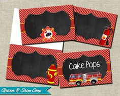 Printable FIRETRUCK FOOD TENTS - Firetruck Buffet Labels - Firetruck Food Station Signs - Firefighter Food Tents - Fireman Party Decoration