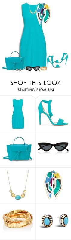 """Aqua"" by ladychatterley ❤ liked on Polyvore featuring Diane Von Furstenberg, Alexandre Birman, Alexandra de Curtis, Le Specs, Marco Bicego, Jaeger, Sidney Garber, John Hardy, Spring and dress"