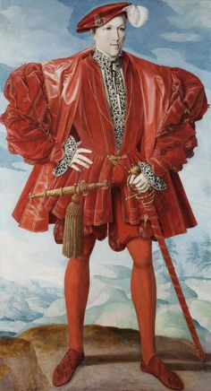 Full-length portrait of a gentleman, standing, facing very slightly to the right, his right hand on his waist, his left clasping the hilt of his sword; dressed entirely in red with a white chemise, ruff and cuffs and plumed cap; before a pale green landscape