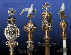 Four Sceptres: The King's Sceptre with the Cross, holding the largest cut diamond in the World; the 530 carat Star of Africa; the largest fragment of The Cullinan Diamond; The King's Sceptre with the Dove; The Queen's Sceptre with the Cross and The Queen's Ivory Rod.
