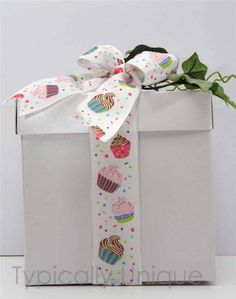 Wire edged ribbon  and bow 'Cupcake' http://stores.ebay.co.uk/Typically-Unique-Flowers-and-Gifts?_rdc=1