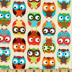 Timeless Treasures Owl Multi from @fabricdotcom  Designed by Alice Kennedy for Timeless Treasures, this cotton print fabric is perfect for quilting, apparel and home decor accents. Colors include cream, orange, red, turquoise, white, aqua, lime, yellow and chocolate on a cream background.