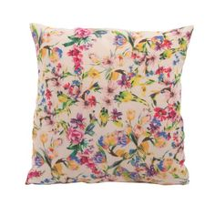 Full of the joys of spring!On a white background with delicate spring flowers and made of 100% linen, this sweet cushion cover comes unfilled.- Materials used:100% linen-Dimensions:40x40cm