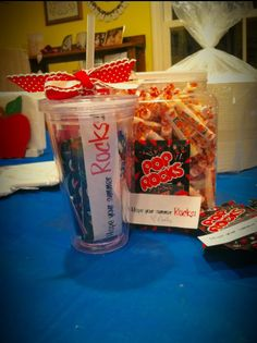 """End of year teacher and class gifts for my kindergarteners :)  """"Hope your summer Rocks!"""""""