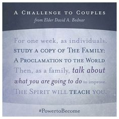 """Given what we know about our enemy's intent, each of us should be especially vigilant in seeking personal inspiration as to how we can protect and safeguard our own marriage—and how we can learn and teach correct principles in the home."" Are you up for the challenge? http://lds.org/family/proclamation Enjoy more from #ElderBednar http://pinterest.com/pin/24066179230999303 #ShareGoodness"