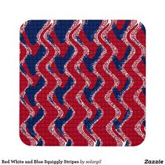 Red White and Blue Squiggly Stripes Beverage Coasters