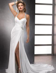 Bridal Gowns: Maggie Sottero Sheath Wedding Dress with Sweetheart Neckline and Natural Waist Waistline