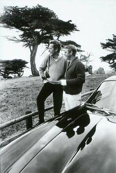Steve McQueen and William Claxton in Carmel, 1964.