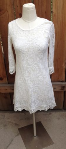 LOVELY White Lace DIVIDED by H&M Flower Mini Dress 1960s style Sz Small