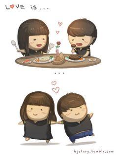 chibi, couple, cute, drawing, eating - inspiring picture on Favim.com