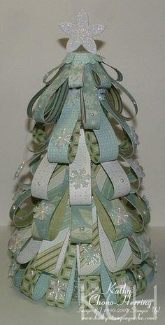 Styrofoam Ribbon Christmas Tree | Kathy's Stamping Niche: Oh Christmas Tree, Oh Christmas Tree.....