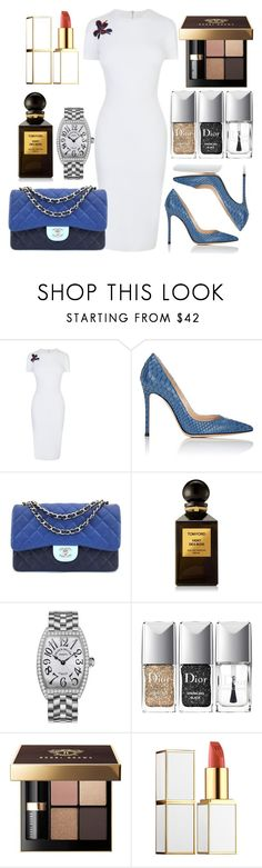 """For work"" by ngkhhuynstyle ❤ liked on Polyvore featuring Victoria Beckham, Gianvito Rossi, Chanel, Tom Ford, Franck Muller, Christian Dior and Bobbi Brown Cosmetics"