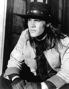 The Young Riders Cast, ??, hat, long hair style, powerful face, expression, great tv, portrait, photo b/w.