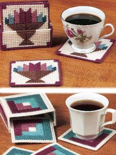 Plastic Canvas - Accessories - Coasters - Traditional Quilt-Look Coaster Sets - #FP00495