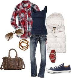 Layered plaid.  Change out shoes.