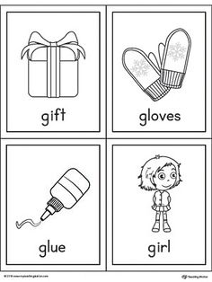 Letter G Words and Pictures Printable Cards: Gift, Gloves, Glue, Girl Worksheet.The Letter G Words and Pictures Printable Cards can be used for flashcards, various games, and help your student associate unfamiliar words with a picture. Picture cards for the words: gift, gloves, glue, and girl.