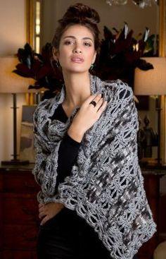 Ribbon Shawl Free Crochet Pattern from Red Heart Yarns