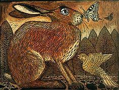 Hare Pictures, Linocut Prints, Art Prints, Hare Animal, Glasgow School Of Art, Rabbit Art, Lovely Creatures, Wood Engraving, Printmaking