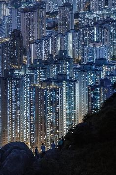 So futuristic, I thought this was a painting until I saw the people on the hillside... Amazing photo of Hong-Kong!!!
