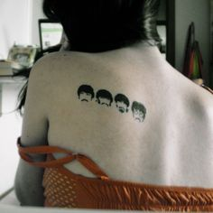 Beatles Tattoo -- This is so cute and really clever. I'd probably do this should I ever get a Beatles tattoo Beatles Tattoos, Music Tattoos, Back Tattoos, Love Tattoos, Body Art Tattoos, Tatoos, Awesome Tattoos, Piercings, Piercing Tattoo